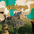 Edinburgh vintage travel poster by Nick  Greenaway