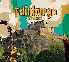 Edinburgh vintage travel poster by Nick  Greenaway