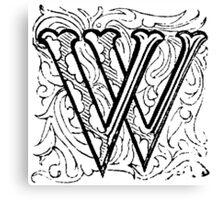 Beveled Alphabet Letter W Canvas Print