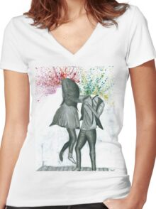 Take a dance. Women's Fitted V-Neck T-Shirt