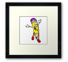 Cartoon happy kawaii pencil Framed Print