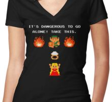 It's Dangerous, Take This!  Women's Fitted V-Neck T-Shirt