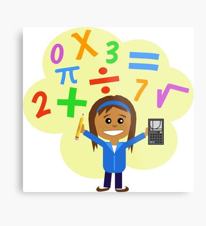 Girl with pencil and calculator Metal Print