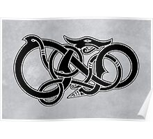 Viking Dragon in black Poster