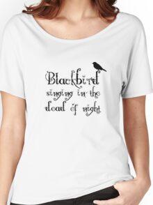 The Beatles Song Blackbird Lyrics Lennon McCartney Women's Relaxed Fit T-Shirt