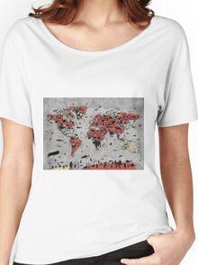 world map animals Women's Relaxed Fit T-Shirt