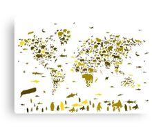world map animals 2 Canvas Print