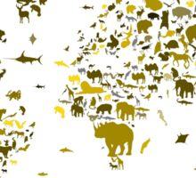 world map animals 2 Sticker