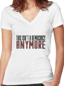 The Walking Dead TV Series  Democracy Movie Quotes Anarchy Women's Fitted V-Neck T-Shirt