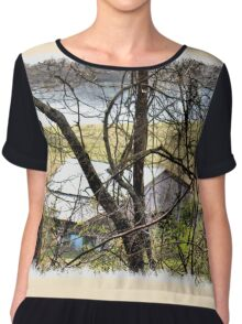 """A Sneak Peek of the Old Farm and the Tale Behind It""... prints and products Chiffon Top"