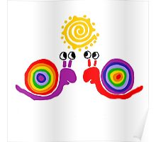 Funky Cool Funny Rainbow Snail Love Art Poster