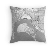 San Diego Map Line Throw Pillow