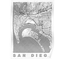 San Diego Map Line Poster