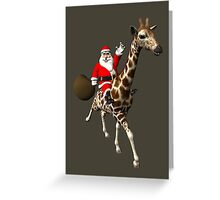 Santa Claus Riding A Giraffe Greeting Card