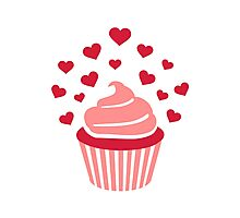 Cupcake red hearts Photographic Print