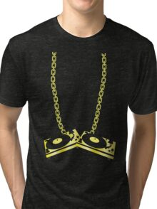 GOLD TURNTABLE NECKLACE Tri-blend T-Shirt