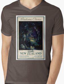 New Zealand Vintage Travel Poster Mens V-Neck T-Shirt