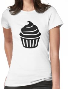 Black cupcake logo Womens Fitted T-Shirt