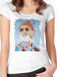 Bill Murray as Steve Zissou Illustrated Portrait Women's Fitted Scoop T-Shirt