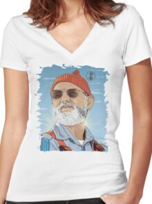Bill Murray as Steve Zissou Illustrated Portrait Women's Fitted V-Neck T-Shirt