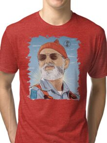 Bill Murray as Steve Zissou Illustrated Portrait Tri-blend T-Shirt