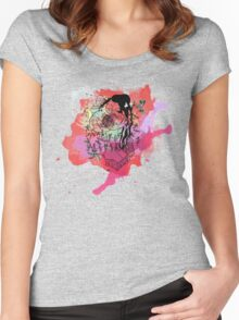 Boriken Taino Heart Watercolor Splash Women's Fitted Scoop T-Shirt