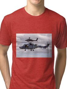 AgustaWestland AW159 Wildcat HMA2 (ZZ515) & Apache AH1 Helicopters Tri-blend T-Shirt