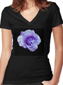 Blue Rose Women's Fitted V-Neck T-Shirt