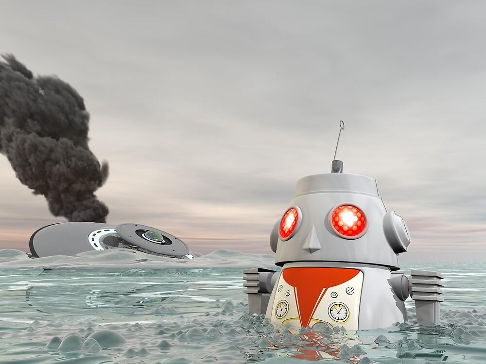 Robot Crash at Sea by mdkgraphics