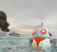 Robot Crash at Sea by mdkgraphics