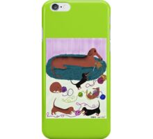 Knitting Dachshund iPhone Case/Skin