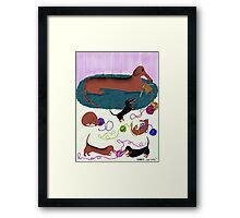 Knitting Dachshund Framed Print