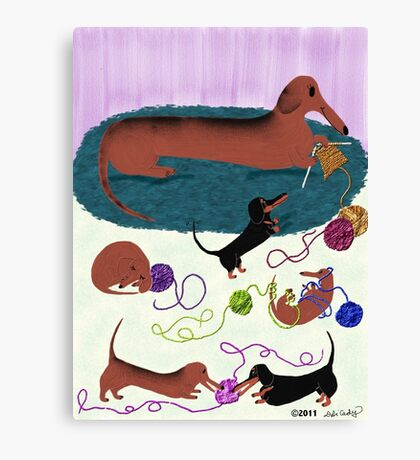 Knitting Dachshund Canvas Print