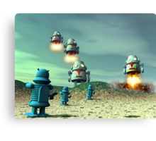 Robot Invasion From Above V2 Canvas Print