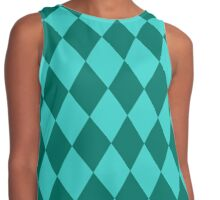 Harlequin,teal,mint,green,pattern,diamond shaped,trendy,modern Contrast Tank