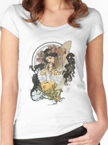 Alphonse mucha Vintage Art Women's Fitted Scoop T-Shirt
