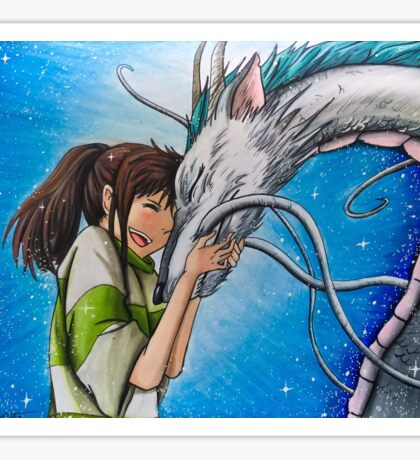 Spirited Away Haku and Chihiro Illustration  Sticker