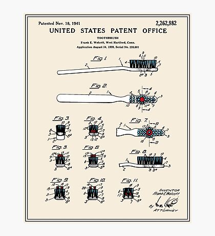 Toothbrush Patent - Color Photographic Print