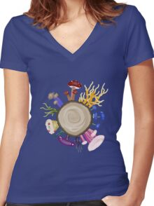Friday Fungidoodle! Women's Fitted V-Neck T-Shirt