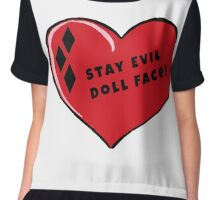 Stay Evil Doll Face Little Red Harley Heart Chiffon Top