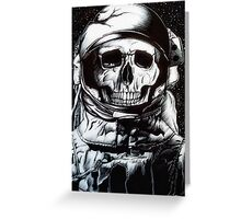 Space Astronaut Skeleton - Black and White  Greeting Card