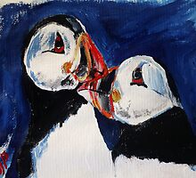 Puffin Wild Birds Fine Art Contemporary Acrylic Painting On Paper by JamesPeart