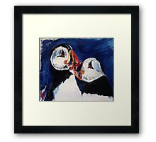 Puffin Wild Birds Fine Art Contemporary Acrylic Painting On Paper Framed Print