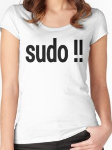sudo !! - Run the last command as superuser Women's Fitted Scoop T-Shirt