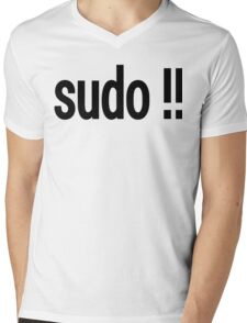 sudo !! - Run the last command as superuser Mens V-Neck T-Shirt