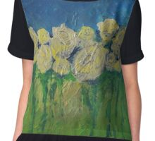White Roses by Adrianna Stepiano Chiffon Top