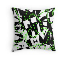 Green, black and white abstraction Throw Pillow