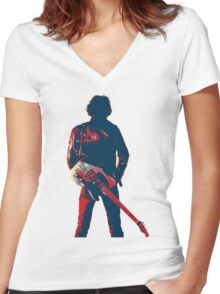 hope art the rock legend with guitar Women's Fitted V-Neck T-Shirt