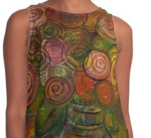 Colorful Circle Flowers by Adrianna Stepiano Contrast Tank