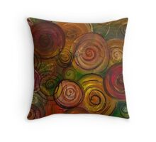 Colorful Circle Flowers by Adrianna Stepiano Throw Pillow